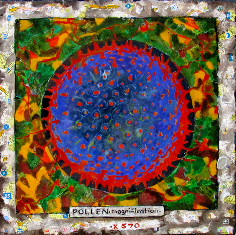 Pollen Magnification x 570. Mixed media on canvas. 25X25cms